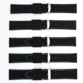 Black with Coloured Stitching Sports Straight Ended Silicone Watch Strap